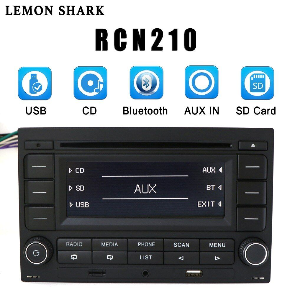LEMON SHARK Car Radio RCN210 CD Player USB MP3 AUX Bluetooth 9N 31G 035 185 For VW Golf Jetta MK4 Passat B5 Polo RCN 210