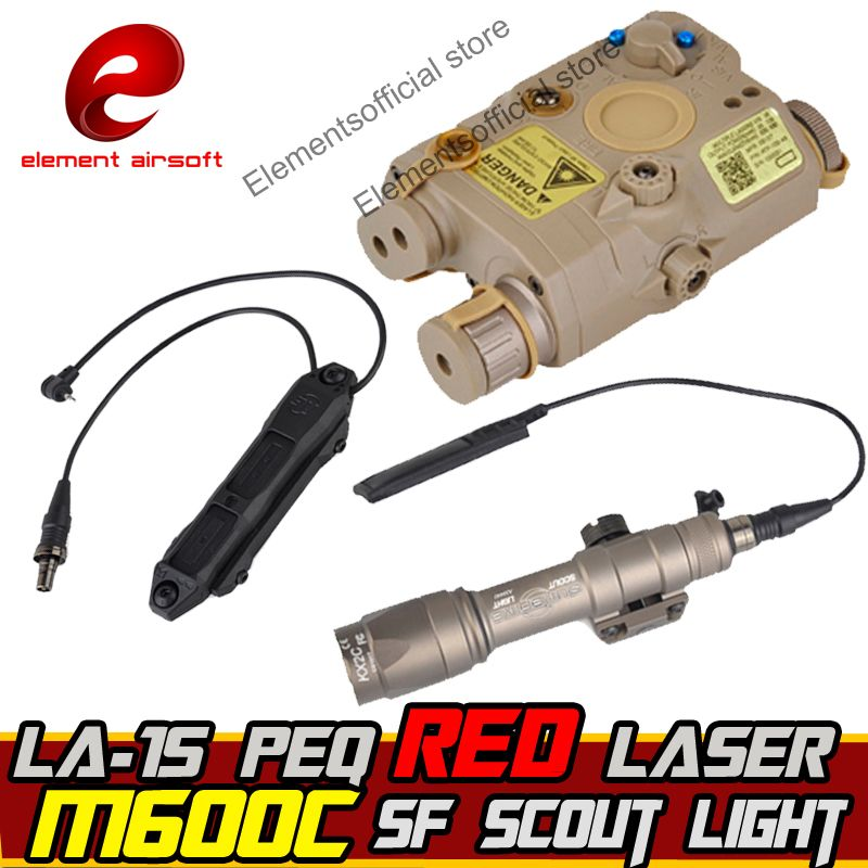 Element Airsoft SF M600C Weapon Scout light IR Laser Led LA-15 PEQ Led Laser IR Double Control Switch tactical Weapon Flashlight