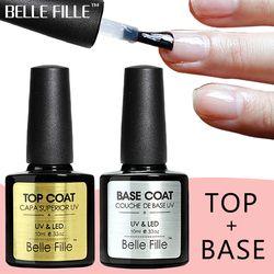 BELLE FILLE Base And Top Coat Transparent Gel Nail Polish UV 10ml Soak Off Primer Gel Polish Gel Lacquer Nail Manicure CDSP01