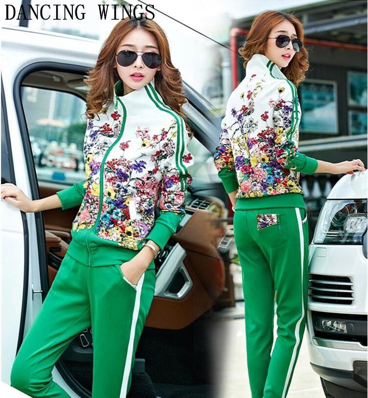 Plus Size L-5XL Tracksuit Two Piece Outfits Women Long Sleeve Top and Long Pants Autumn Fashion Floral Print Women Set Sportwear