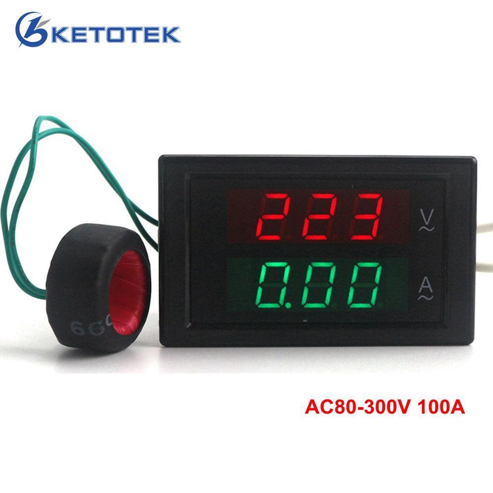 AC80-300V AC 0-100A Led volts ampèremètre compteur de tension ampèremètre ampèremètre ampèremètre numérique livraison gratuite