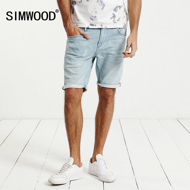 SIMWOOD 2018 Summer New Denim Shorts Fashion Bleached Slim Fit Knee Length Casual Cotton Brand Clothing ND017007