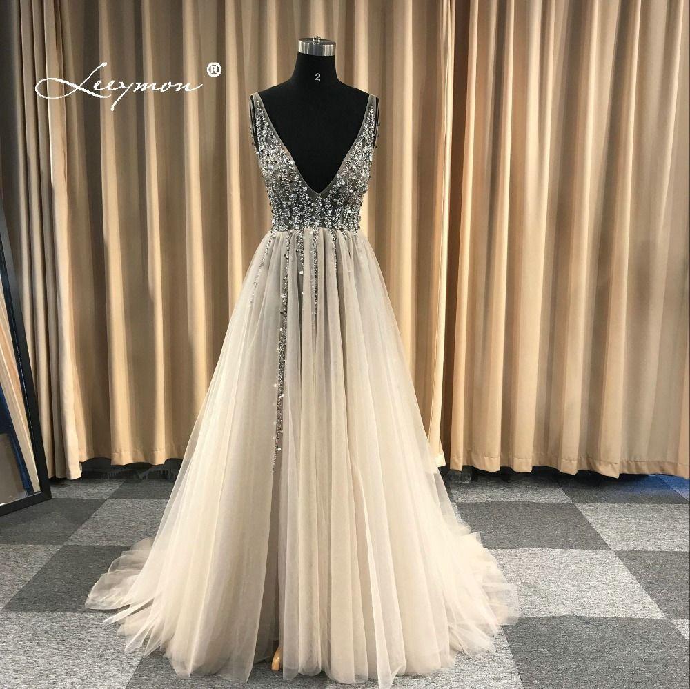 V Neck Sparkly Evening Dress 2018 Backless Evening Party Dress Elegant Sexy See Through High Split Vestido de Festa