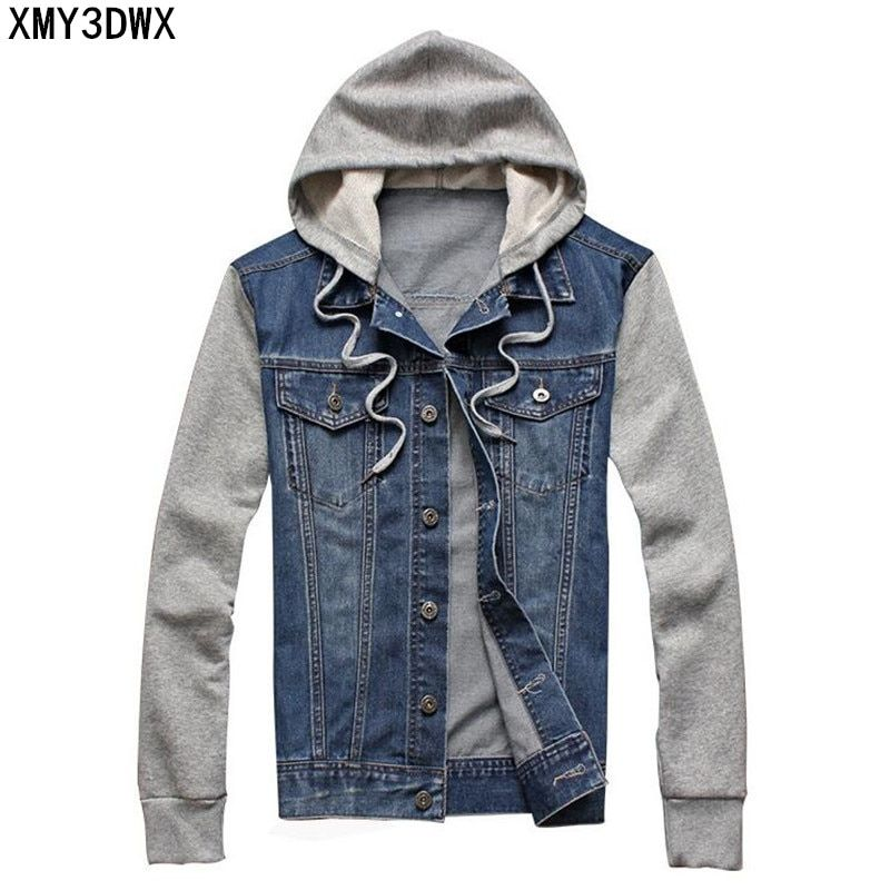 2018 Male hooded sportswear Outdoors Casual fashion Jeans Jackets Hoodies Cowboy Mens Denim Jacket and Coat Plus Size 4XL 5XL