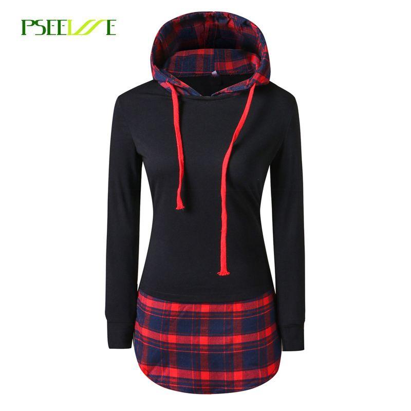 PSEEWE Women Casual Hoodies Sweatshirts Mujer plaid Long Sleeve Pullovers Sweatshirt Splicing <font><b>Hooded</b></font> Hoody Female Loose Coat