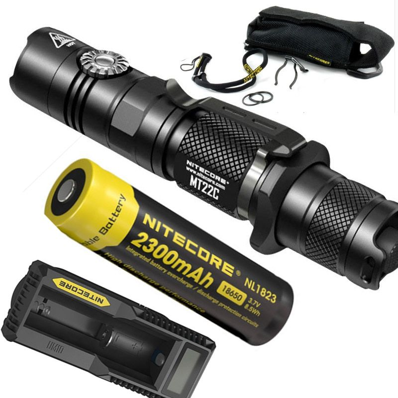 NITECORE MT22C +18650 rechargeable battery Rotary Switch 1000 LMs Flashlight Search Rescue Portable Diecast Torch Free Shipping
