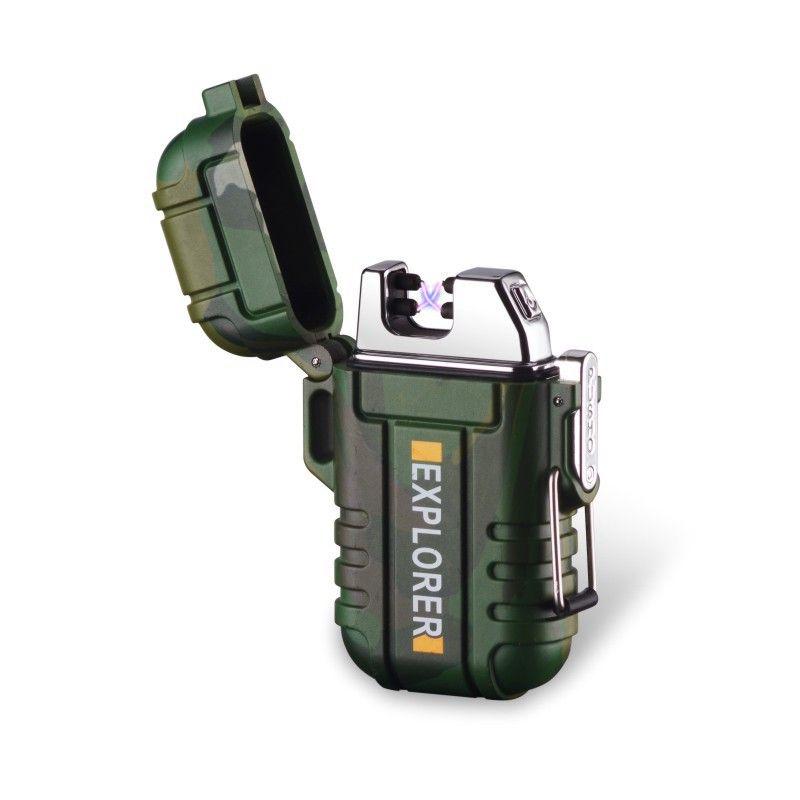 Allume-cigare imperméable portatif fort de lanière de briquet électronique d'usb de double Arc extérieur avec la boucle de sécurité pour des explorateurs