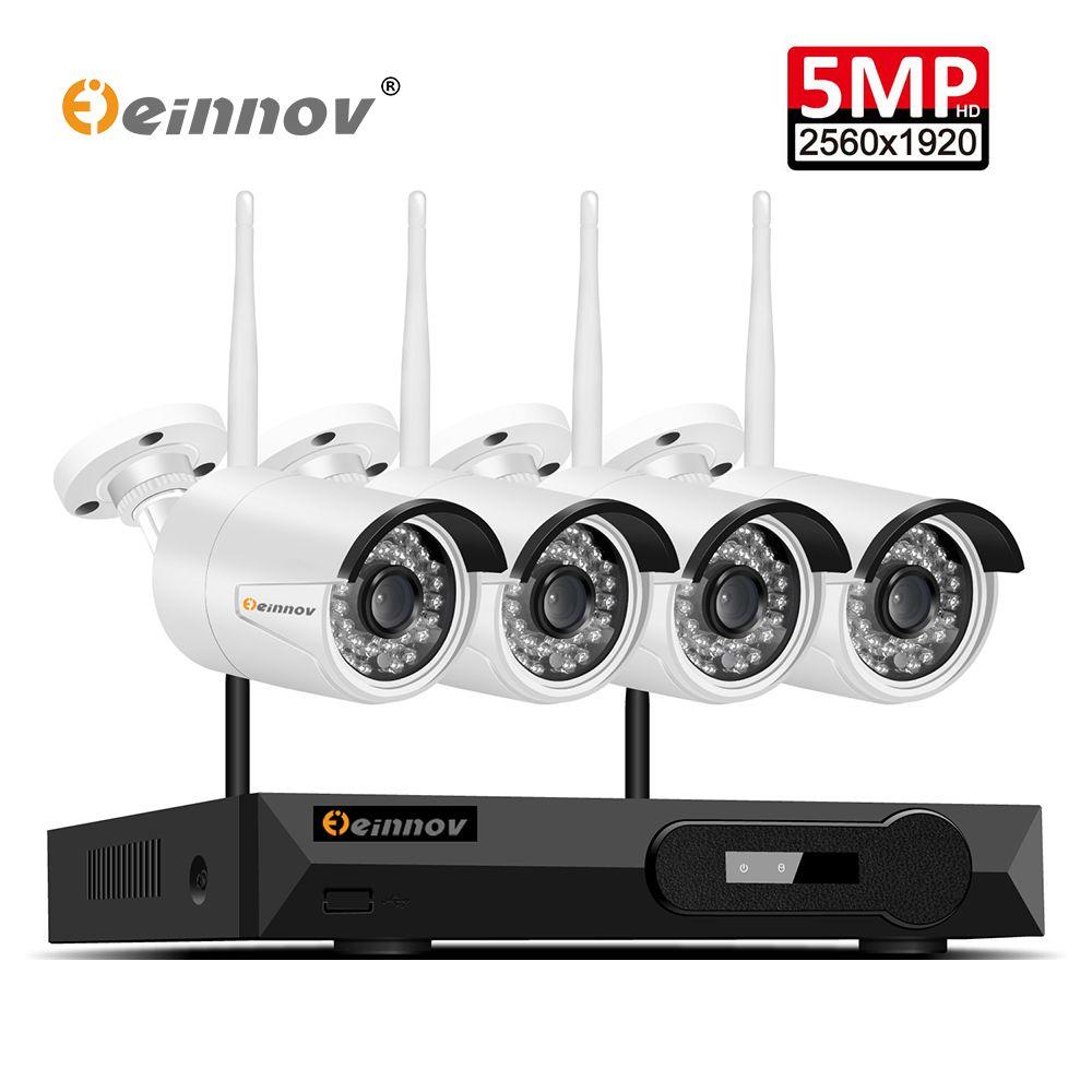 Einnov 4Ch Hause Drahtlose CCTV Kamera System Video Überwachung Kit WIFI Sicherheit Kamera System 5.0MP NVR Wifi IpCam P2P IR ansicht