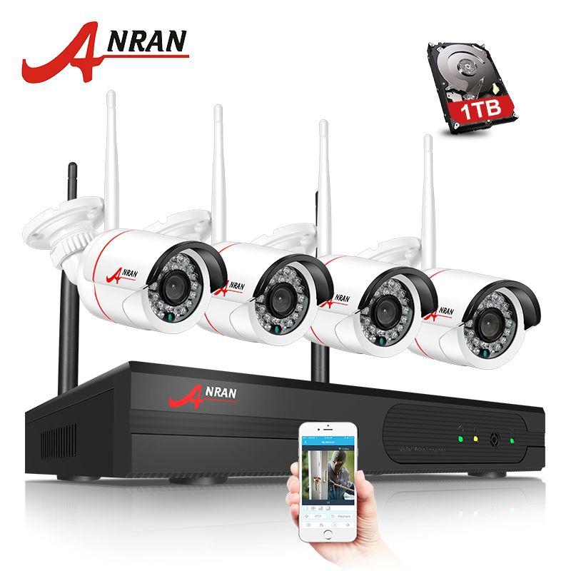 ANRAN CCTV P2P 4CH Wifi NVR 24IR IR Waterproof MINI Bullet 720P Video IP Wireless Camera Security System Hard Disk Optional