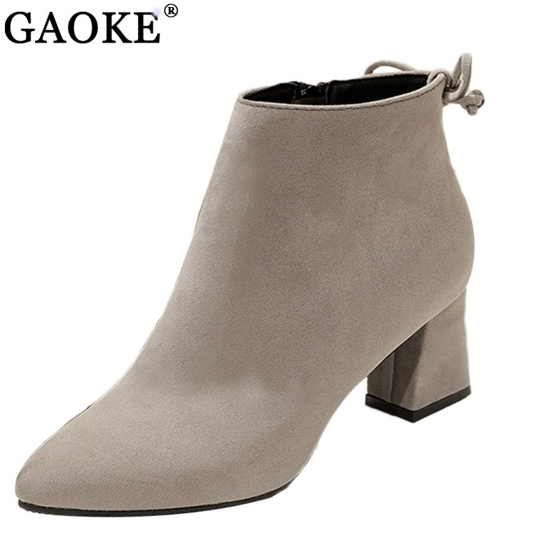 Autumn Winter Fashion Shoes Woman Flock Suede Leather Boots Ladies Thick High Heel Ankle Boots Party Shoes Size 34-45