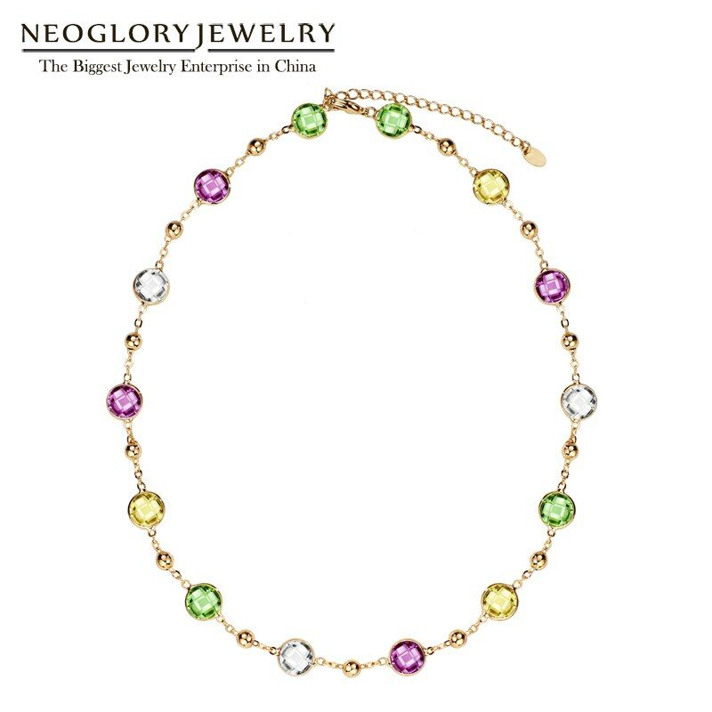 Neoglory jaune clair collier ras du cou chaîne Maxi Long colliers pour femmes cadeaux saint valentin agrémentés de cristaux de Swarovski