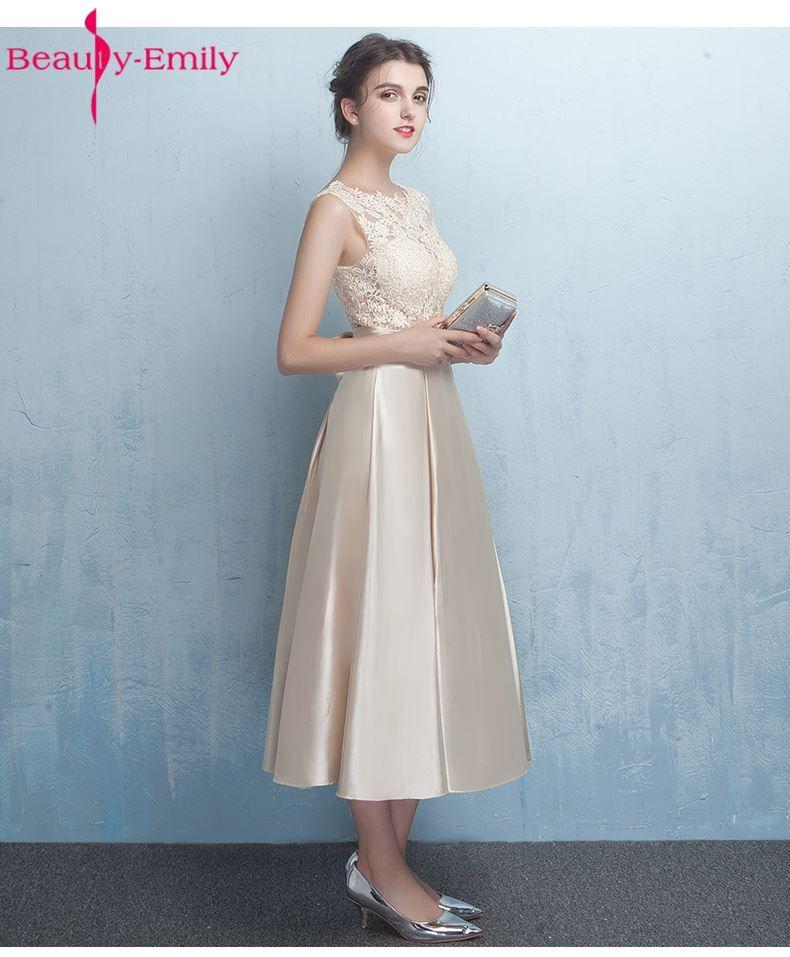Belleza-emily mancha Encaje champagna Vestidos de dama de honor 2017 vestidos de Noite a-line tobillo-longitud boda Vestidos de baile