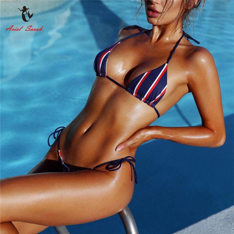 Ariel Sarah Striped Badeanzug Frauen Bikini 2017 Heiße Badebekleidung Badeanzug Bandage Bikini Set Sexy Maillot De Bain Monokini Q324