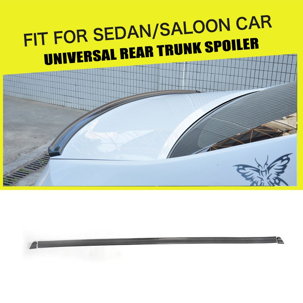 1.5M Carbon Look Universal Soft Car Spoiler Exterior Rear Spoiler Kit Fits For Audi A3 A4 A5 A6 Fit Any Sedan Cars Any Year