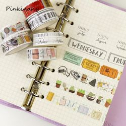 1.5cm*7m Week Pattern Washi Tape DIY Sticky Decoration Scrapbooking Planner Masking Adhesive Tape Label Sticker Cute Stationery