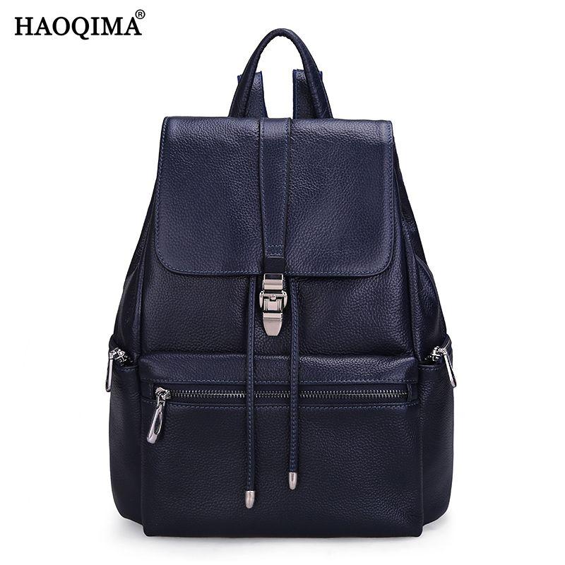 HAOQIMA Teenagers Girls Genuine Leather Real Cowhide Women's Backpacks Designer Backpack Shoulder Leather School Fashion Bag