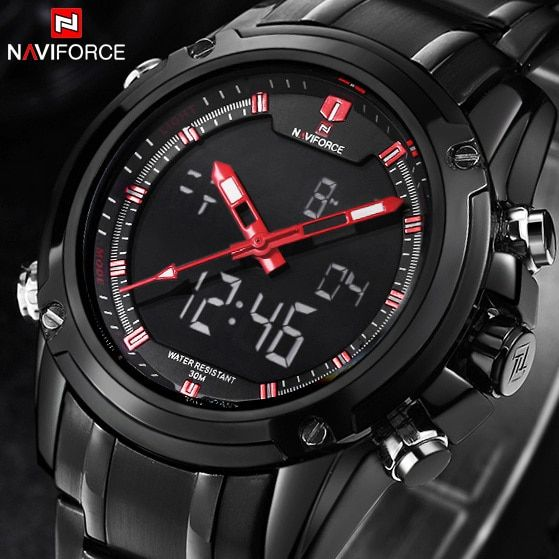 Top Men Watches Luxury Brand <font><b>Naviforce</b></font> Men's Quartz Hour Analog LED Sports Watch Men Army Military Wrist Watch Relogio Masculino