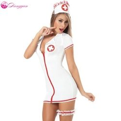 DangYan plus size sexy teddy nurse costume with leg belt SM Cosplay sexy costumes erotic dress adult sexy lingerie