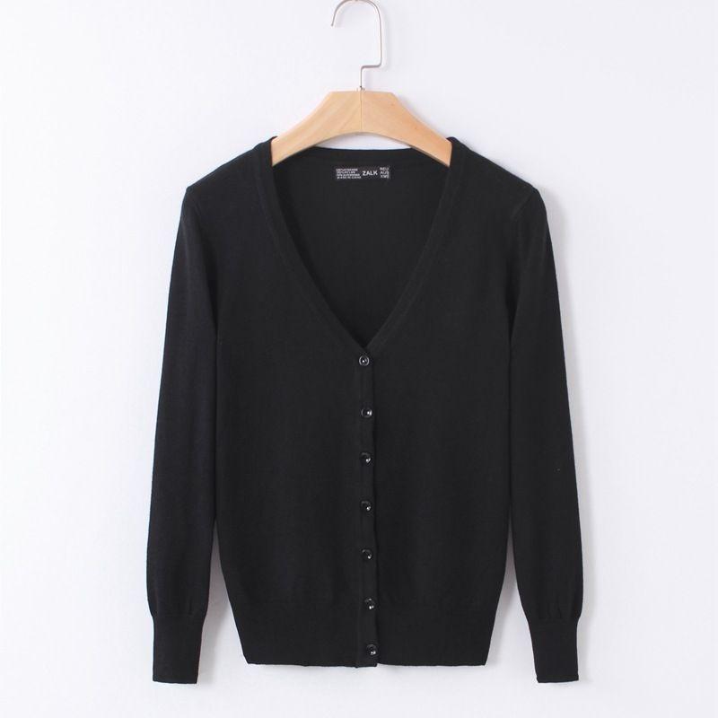Gilet tricoté Femmes 2019 Printemps Automne à manches longues Col V Femmes de sweat à capuche Femelle Unique Bouton Pull manteau Noir/Rose