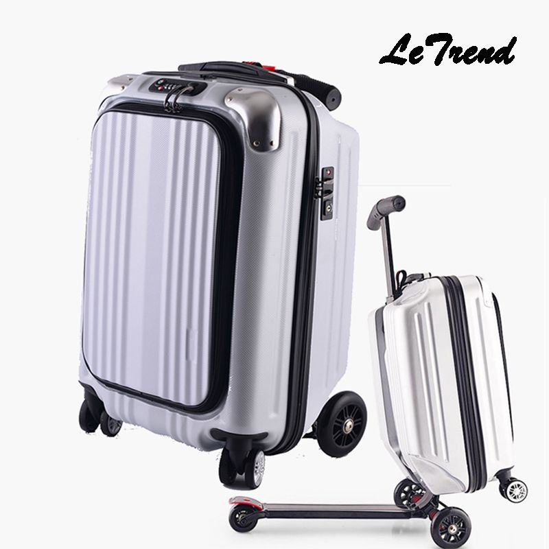 Micro Scooter Skateboard Rolling Luggage Trolley Men Business Suitcase Wheels Travel Duffle Student Cabin Trunk