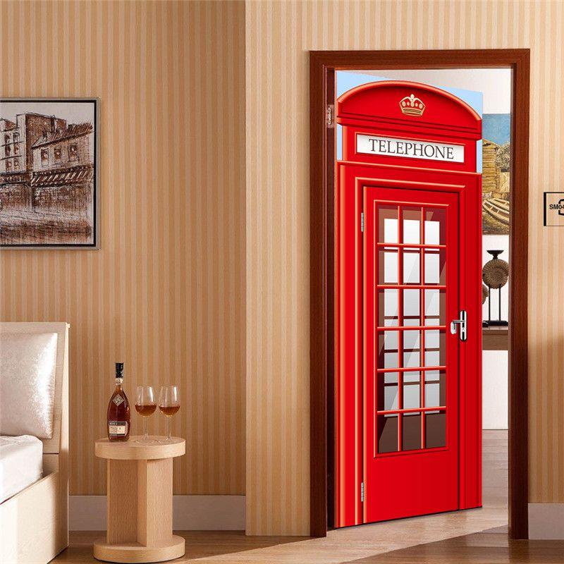 London Telephone Home Decor DIY wall art Door Fridge Sticker Box Phone Booth Mural Decole Film