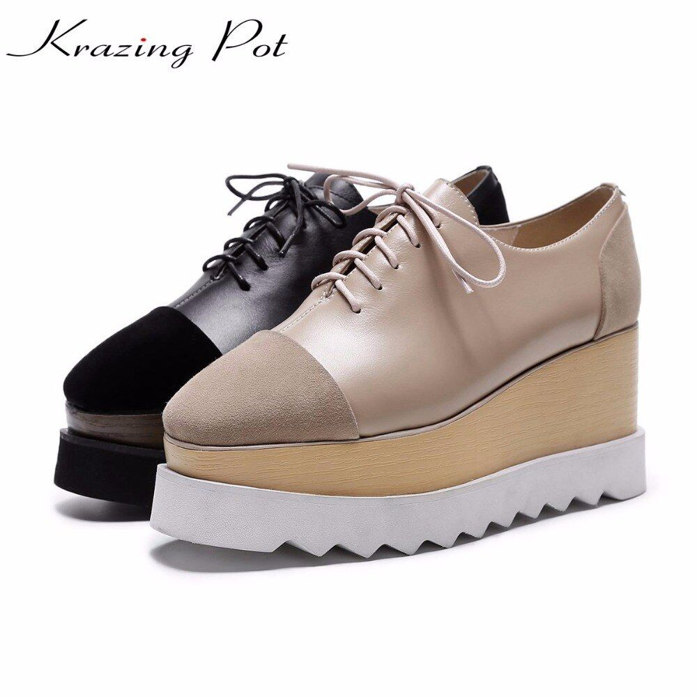 Krazing Pot 2018 brand shoes kid suede cow leather high heels shoes women winter autumn pumps high quality platform shoes L12