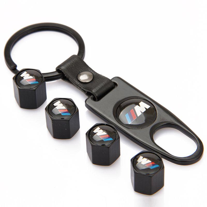 4Pcs Key Chain Car Styling Tire Valve Caps M Power Logo Emblem Tyre Air Stems Cap Auto Motorcycle Wheel Cover Tire Accessories