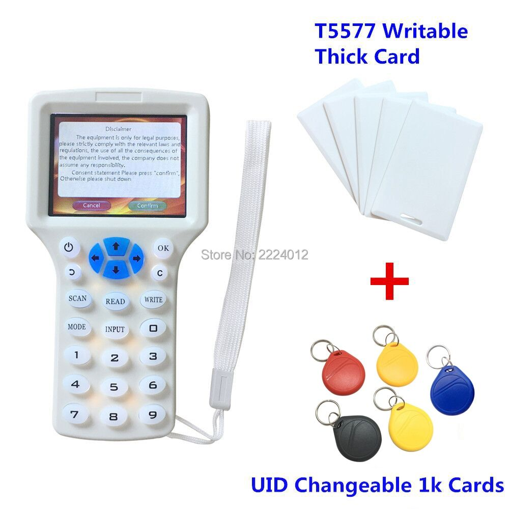 Handheld 125khz rfid reader writer duplicator 10 Frequency Programer H ID rfid copier+5pcs T5577 Card+5pcs 13.56mhz UID rfid Tag