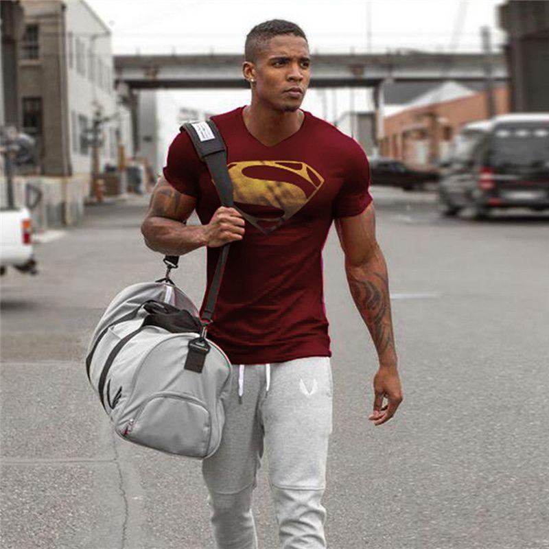 Vente chaude Superman Imprimé T-shirts Hommes Compression Shirts Slim Fit Top Compression Mâle T-shirts Hommes Baseball-Shirt manches Courtes de Remise En Forme