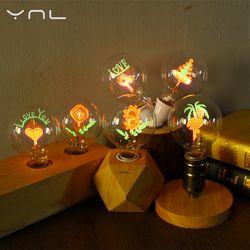 YNL vintage Edison Ampoule E27 G80 fleur vacances allume la lampe intérieure 220 v globe à incandescence lumière de noël décor pour Pendentif lampe