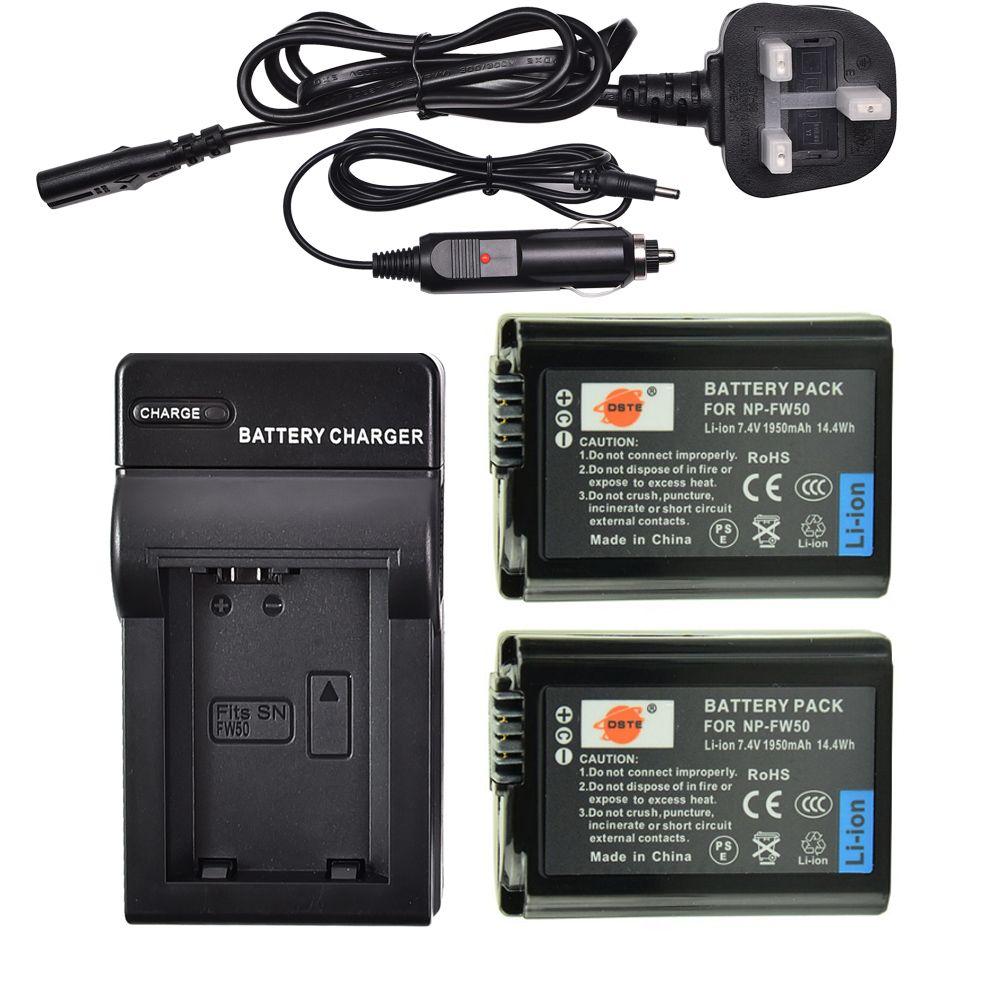 DSTE 2PCS NP-FW50 Kamera Batterie mit UK Stecker Reise Ladegerät für Sony NEX-7 NEX-5N NEX-5R NEX-6 NEX-3 NEX-3A NEX-3D a6400 a6100