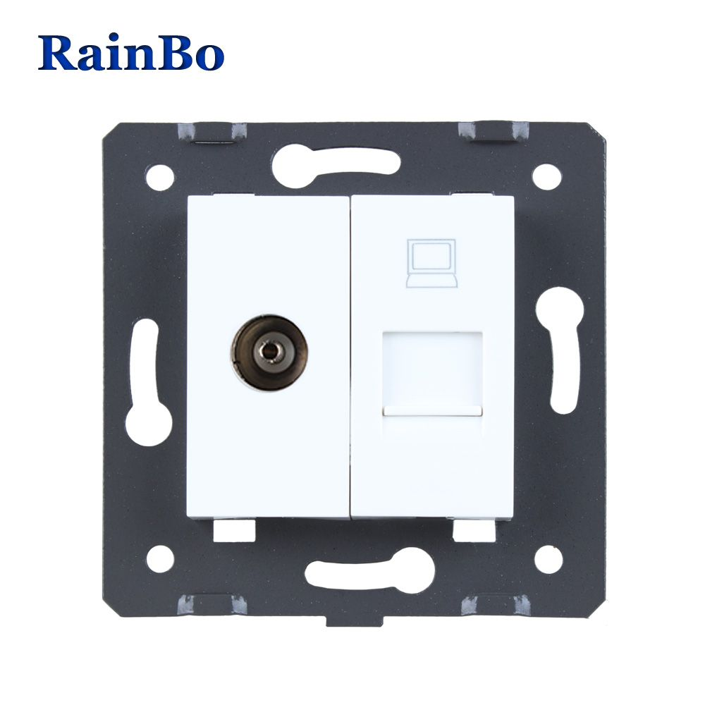RainBo Free Shipping White Plastic Materials DIY Accessory Function Key For TV and Computer Socket EU Standard A8TVCOW/B
