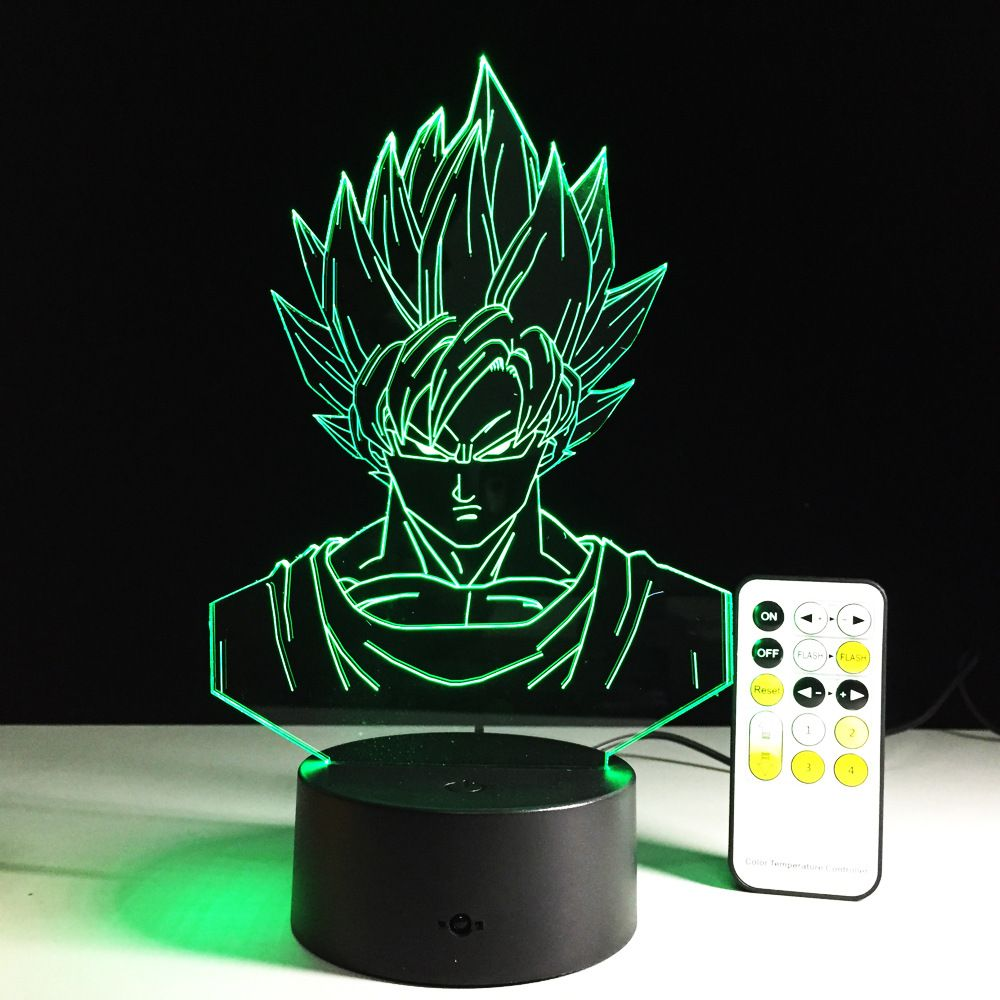Dragon Ball Z Figure 3D Led Table Lampe Nuit Lumière Super Saiyan Goku Coloré Acrylique USB À Distance LED Éclairage Décoration