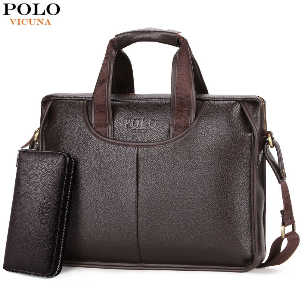 VICUNA POLO Classic Design Large Size Leather Briefcases Men Casual Business Man Bag <font><b>Office</b></font> Briefcase Bags Laptop Bag maletin