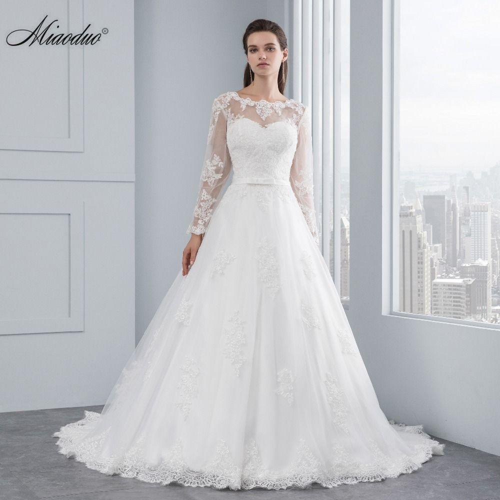 Miaoduo Luxury Long Sleeve Lace Appliques Low Back Wedding Dress 2017 A-line vestido de noiva Wedding Dresses vestido de noiva