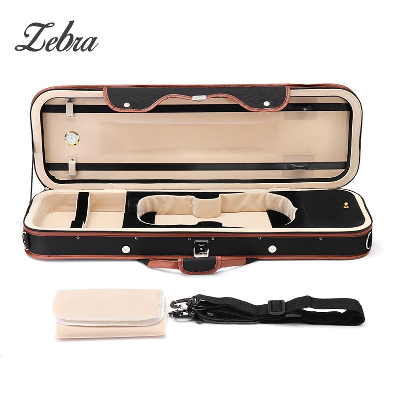 Zebra 4/4 Violion Box Violin Case with Humidity table Straps locks Waterproof For Musical Instruments Lover