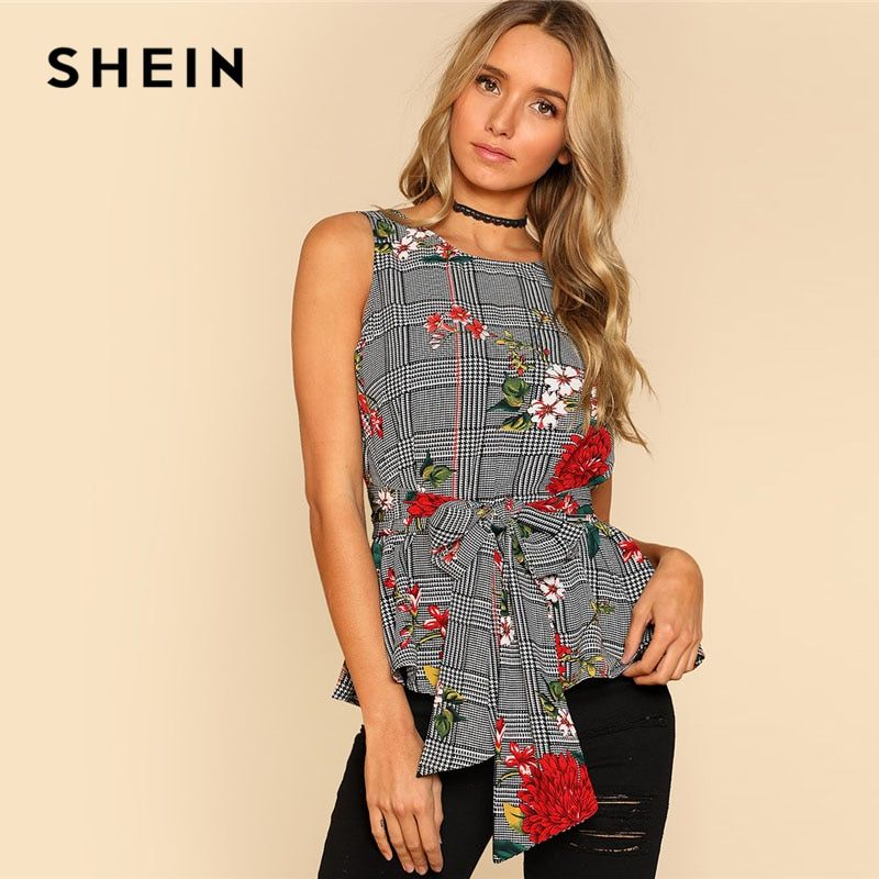 SHEIN Self Belted Floral And Plaid Shell Top Women Fashion Round <font><b>Neck</b></font> Sleeveless Casual Blouse 2018 Summer Vacation Blouse