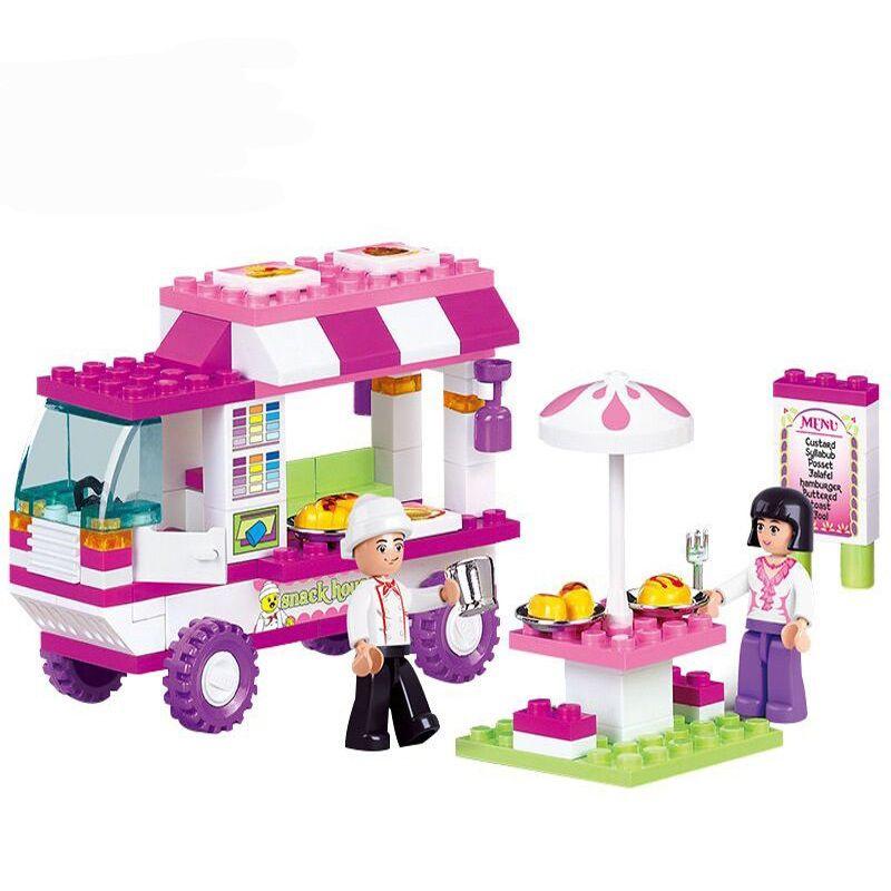 SLUBAN 0155 fille amis rose blocs de construction de voiture briques compatibles LegoINGlys ville Snack maison