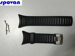 Asli 25 Mm Hitam Tali Jam Karet Silikon Tahan Air Band untuk Wristswatch Spovan SPV806, SPV807, SPV808, FX801