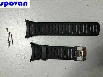 Original 25mm Black Silicone Rubber Watch Strap Waterproof Sports Watch Band For WristsWatch Spovan SPV806, SPV807,SPV808,FX801