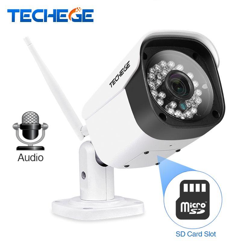 Techege WiFi Ip-kamera Audio 1080 P 960 P 720 P ONVIF P2P Bewegungserkennung RTSP E-mail Alarm Im Freien Wasserdichte metall Cctv-kamera