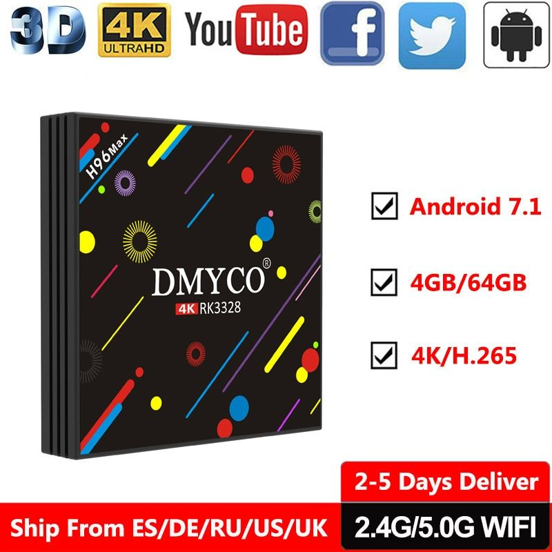 4GB RAM 64GB Flash android tv box H96 Pro RK3328 Quad Core android 7.1 TV Box Wifi HDMI 4K H.265 HDR Internet TV 4K Media Player