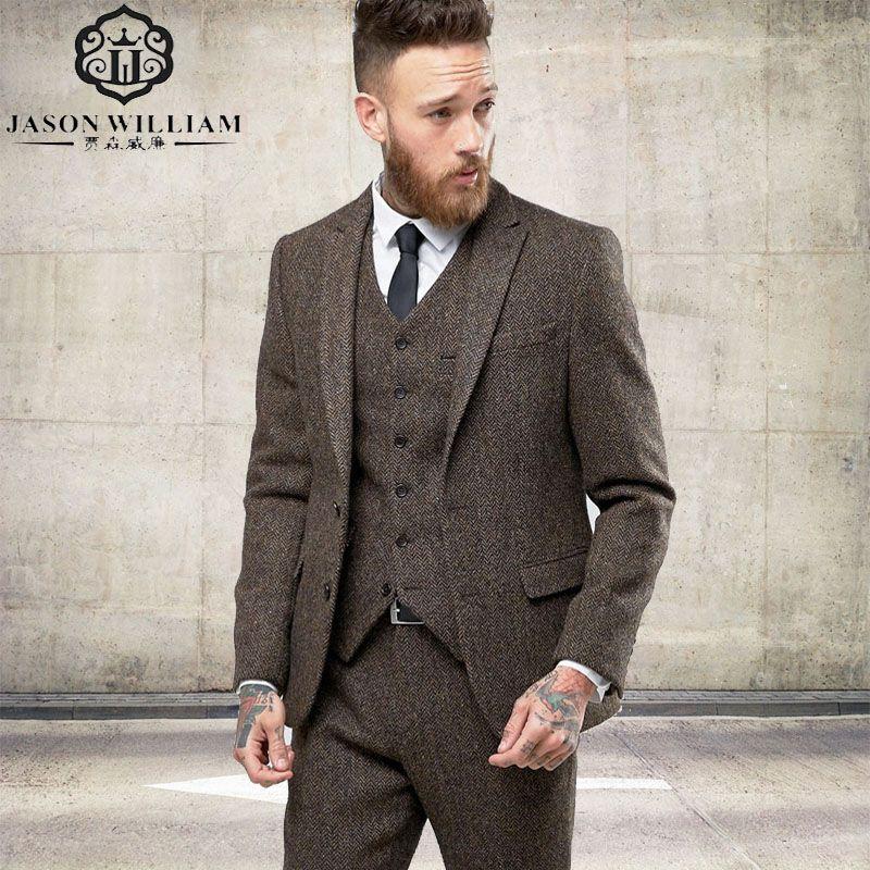 LN125 2017 New Custom Made Tweed Suits Men Formal Skinny Wedding Tuxedo Gentle Modern Blazer 3 Piece Men Suits(Jacket+Pants+Vest