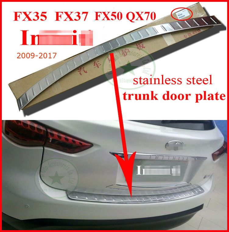for INFINITI EX37 EX35 FX FX35 FX37 QX QX70 QX50 rear trunk door sill rear bumper protector,304 stainless steel,slap-up quality