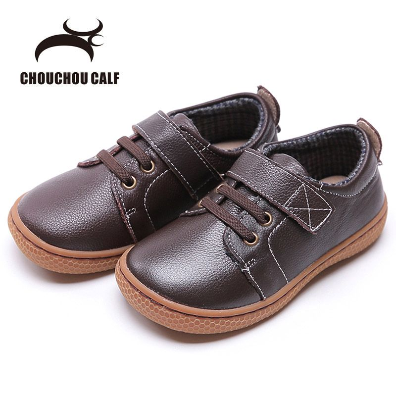 2018 Genuine Leather shoes Autumn children casual shoes kids girls leather shoes boys sneakers coffee brown shoes size22-31