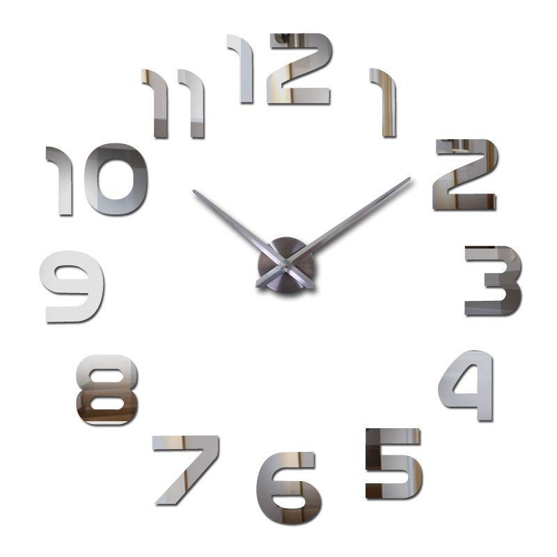 Nouveau chaud sticker mural horloges acrylique quartz matériel décor à la maison salon europe numéro diy autocollants encore la vie
