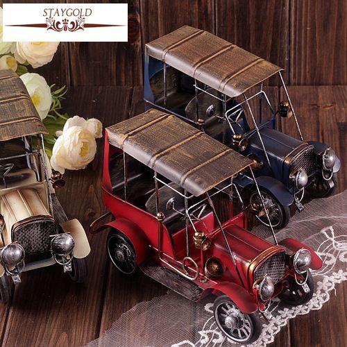 Zakka Vintage décor à la maison rétro voitures en fonte jouet voiture-style Ford Antique voiture modèles pour décoration étain voiture jouets Shabby Chic