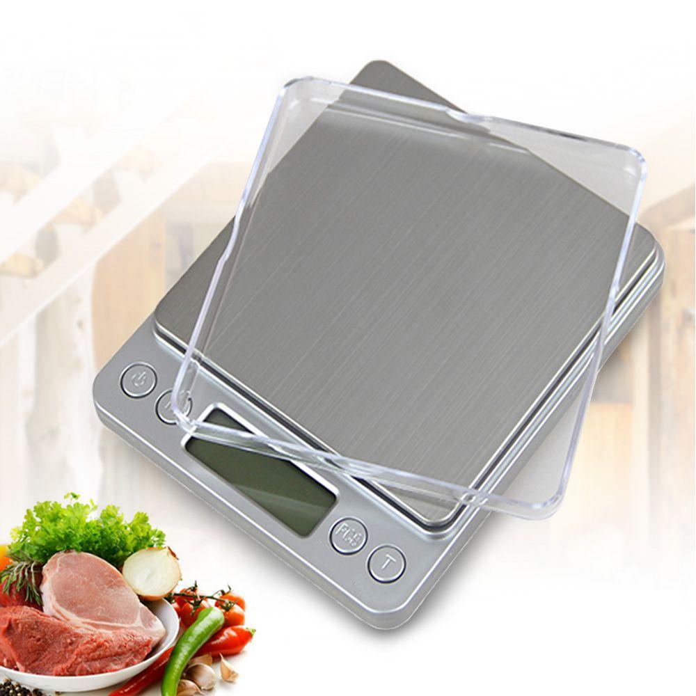 500g x 0.01g Portable Mini Électronique Alimentaire Échelles Poche Cas Postal Cuisine Bijoux Poids Balanca Numérique Échelle Avec 2 plateau