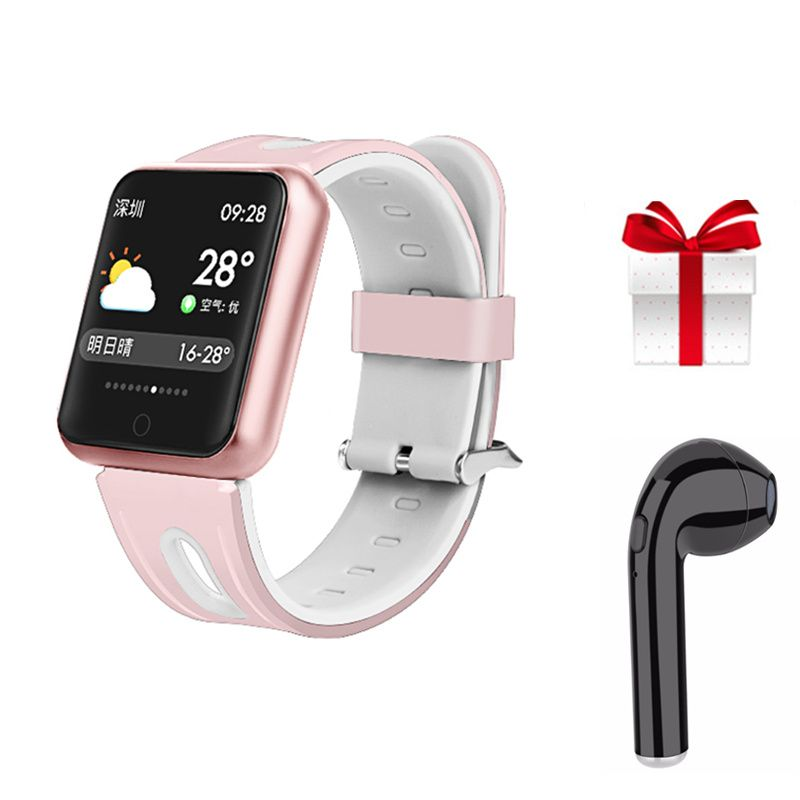 IP68 waterproof P68 fintness bracelet professional sport smart watch women for iphone 6 7 8 X PK IWO Smart band +earphone gift