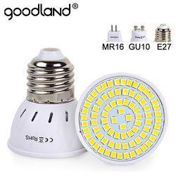 Goodland E27 MR16 GU10 CONDUZIU a Lâmpada Lâmpada LED 220 V 240 V LEVOU Holofotes Bulbo Lampada 48 60 80 LEDs luz Do Ponto SMD 2835 Para Home Indoor